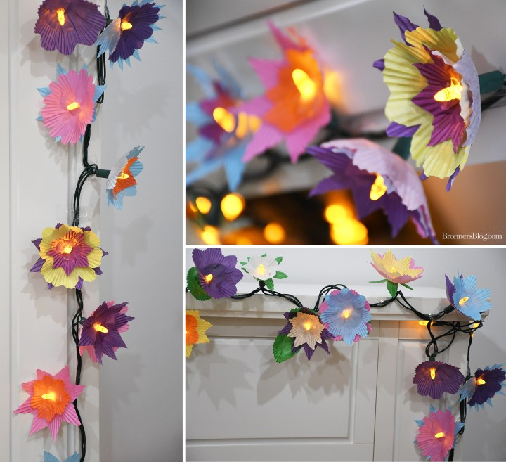 DIY Spring Flower Lights From Cupcake Wrappers