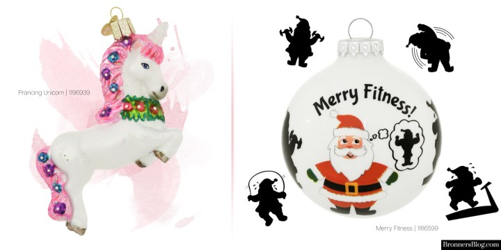 "Honorable mentions: unicorn ornament and ""Merry Fitness"" Santa for your favorite fitness buff."
