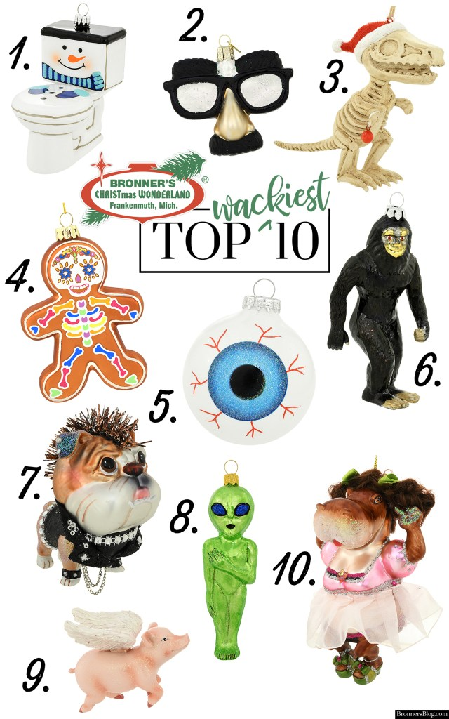 """Bronner's Top 10 Wackiest Christmas Ornaments"" includes a snowman toilet, Groucho Marx funny face glasses, a T-rex skeleton, a Day of the Dead gingerbread cookie, glass eyeball, Sasquatch, punkster bulldog, green alien, flying pig with wings and a dancing hippo in tutu."