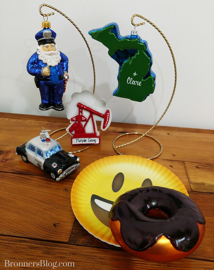 Clare Michigan Themed Christmas Ornaments Include Police Officer And Vintage Cruiser, Purple Gang Oil Well Personalized Ornament And Chocolate Glazed Doughnut