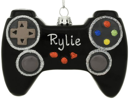 Personalized Black Video Game Controller Exclusive Glass Ornament from Bronner's Christmas Wonderland.