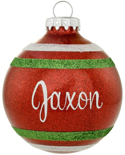 Personalized Sparkle Glass Ornament With Stripes Exclusively from Bronner's Christmas Wonderland