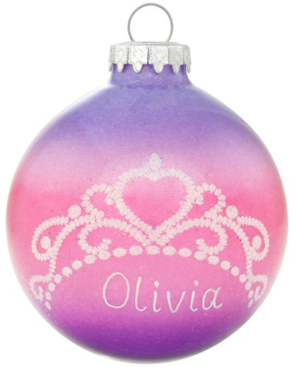 Personalized Tiara 3-Tone Glitter Exclusive Glass Ornament from Bronner's Christmas Wonderland.