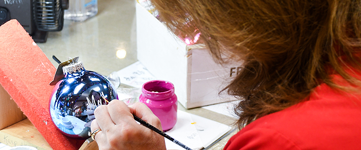 Bronner's personalization artists hand-paint Christmas ornaments in Frankenmuth, Michigan.