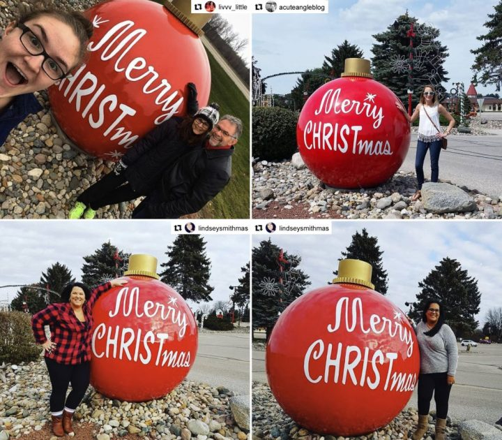 Bronner's wishes you a larger-than-life Merry CHRISTmas along 25 Christmas Lane in Frankenmuth, Michigan with our giant fiberglass ornament.