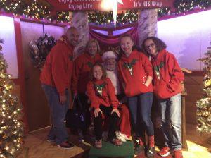 The Jordan Family visiting with Santa at Bronner's Christmas Wonderland in Frankenmuth, Michigan.