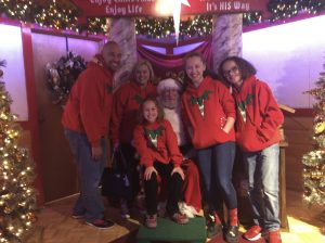 The Jordan Family visiting with Santa at Bronner's Christmas Wonderland in Frankenmuth, Michigan.