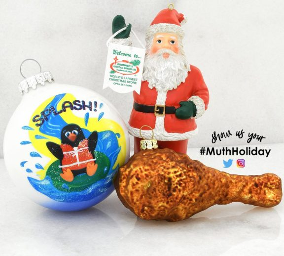 Splash Waterpark, Bronner's Christmas Wonderland's Santa, and Chicken Drumstick Glass Ornaments