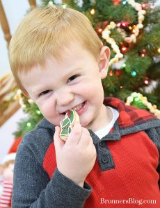 Little boy eating sugar cookie