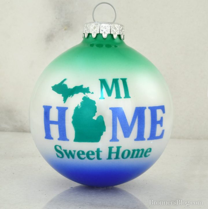 MI Home Sweet Home Bronner's exclusive glass Christmas ornament.
