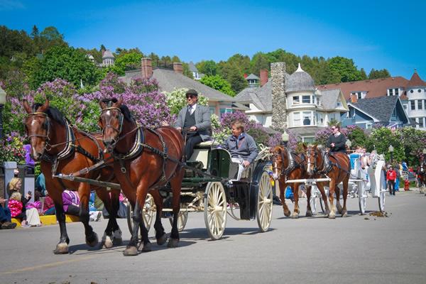 Mackinac Island's Lilac Festival Grand Parade.