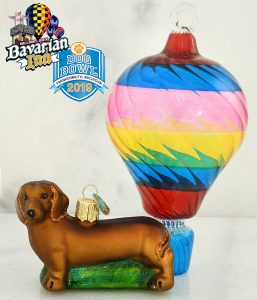 Dachshund and Spun Glass Air Balloon ornament to celebrate Frankenmuth's Balloons over Bavarian Inn and Dog Bowl festivals Memorial Day weekend.