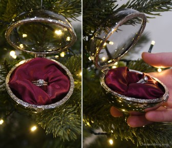 Engagement ring inside an antique styled jewel box ornament.