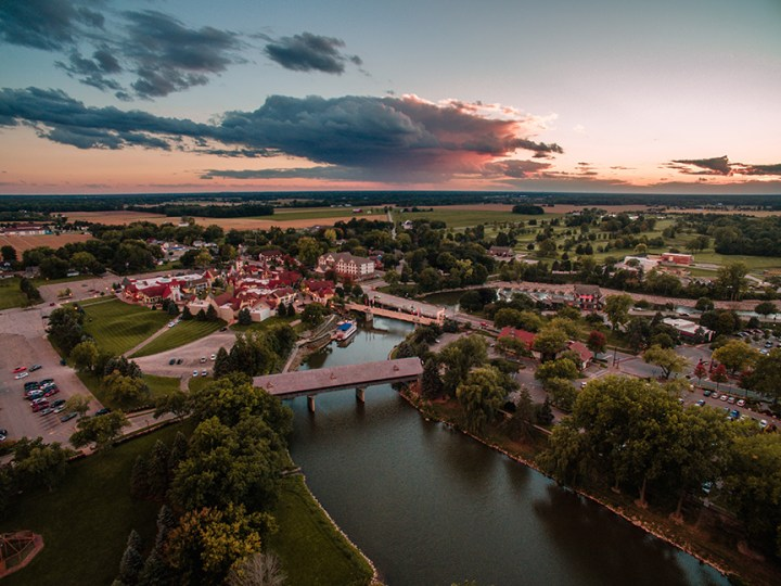 Drone photography aerial shot of Frankenmuth, Michigan.