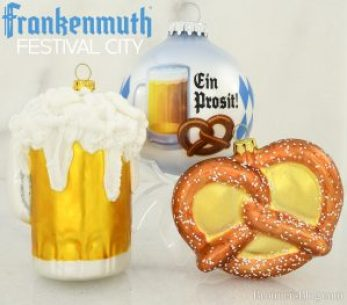 Beer and pretzel themed Christmas ornaments celebrate Bavarian festival fun.