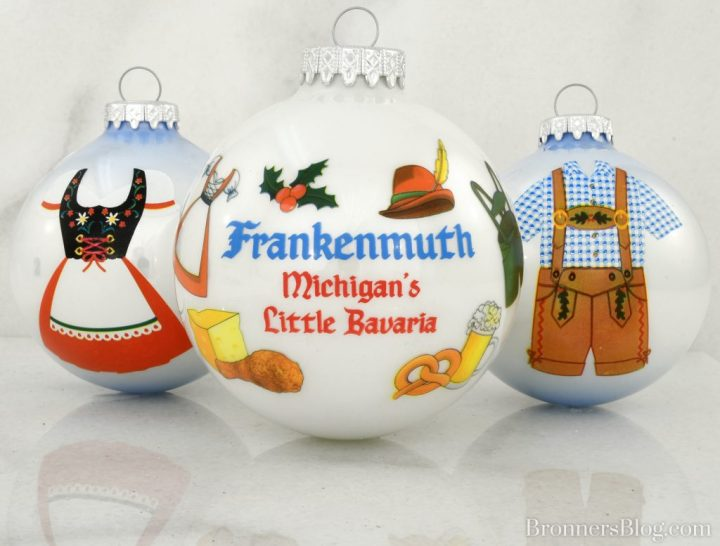 Frankenmuth Michigan's Little Bavaria, Dirndle and Lederhosen glass ornaments exclusive to Bronner's Christmas Wonderland.