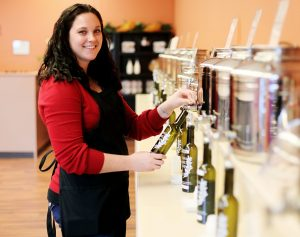 Great Lakes Olive Oil Company tasting bar in Frankenmuth, Michigan