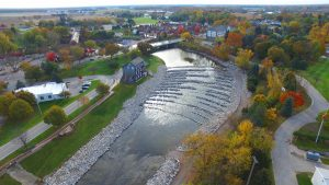 Gunzenhausen Street Walkway overlooking Frankenmuth's rock ramp