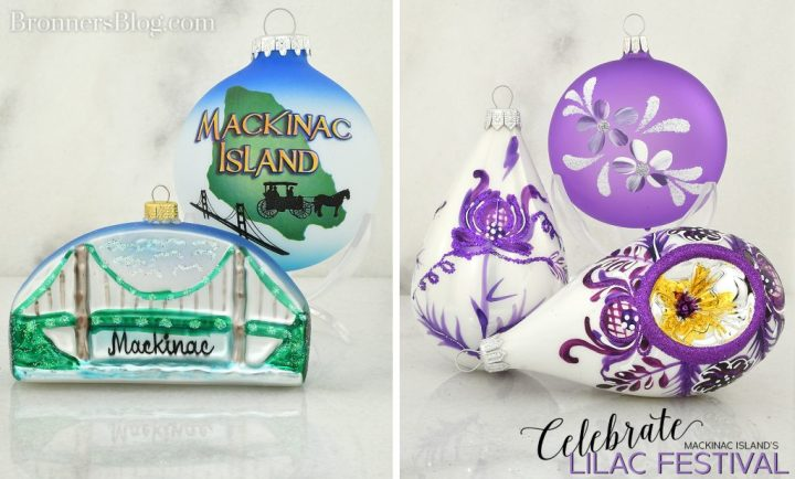 Celebrate Mackinac Island's Lilac Festival with ornaments from Bronner's.