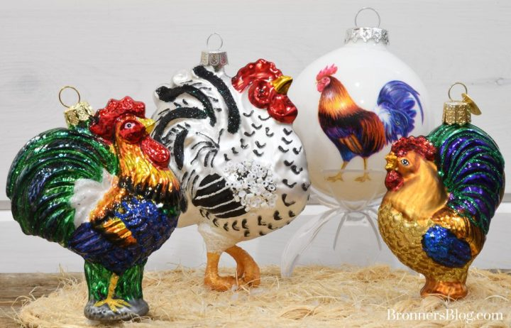 Rooster Ornaments from Bronner's Christmas Wonderland celebrate the legend of the rooster.