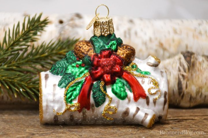 Glass Yule Log Old World Christmas Ornament at Bronner's Christmas Wonderland
