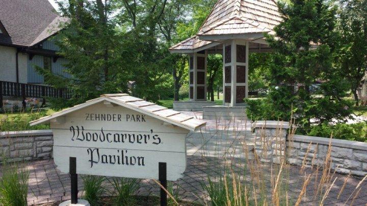 Zehnder's Park in Frankenmuth, Michigan; Woodcarver's Pavilion.