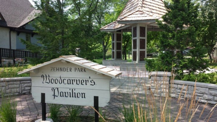 Zehnder's Park in Frankenmuth, Michigan; Woodcarver's Pavilion.