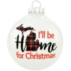 I'll Be Home For Christmas buffalo Plaid Michigan Ornament, Bronner's exclusive.