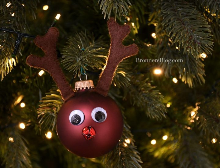 DIY Rudolph The red-Nosed Reindeer Christmas Ornament