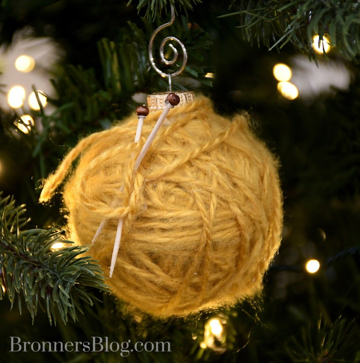 DIY ornament wrapped in yarn makes a fun ball of tarn ornament.
