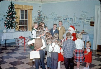 Vintage photo of Bronner's Children's Christmas Party celebrated at Zehnder's Restaurant.