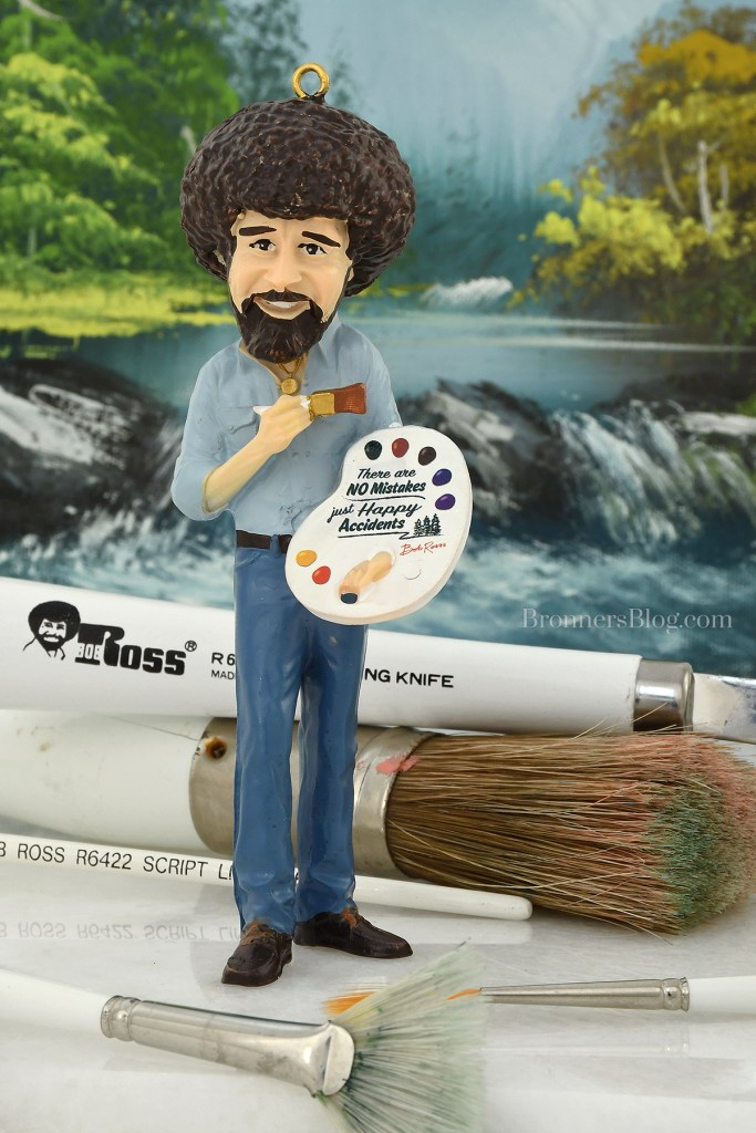 Bob Ross With Artist Palette Resin Ornament From Bronner's CHRISTmas Wonderland.