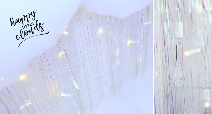 Happy little clouds table skirting idea made from tinsel icicles, Christmas lights and Dacron.