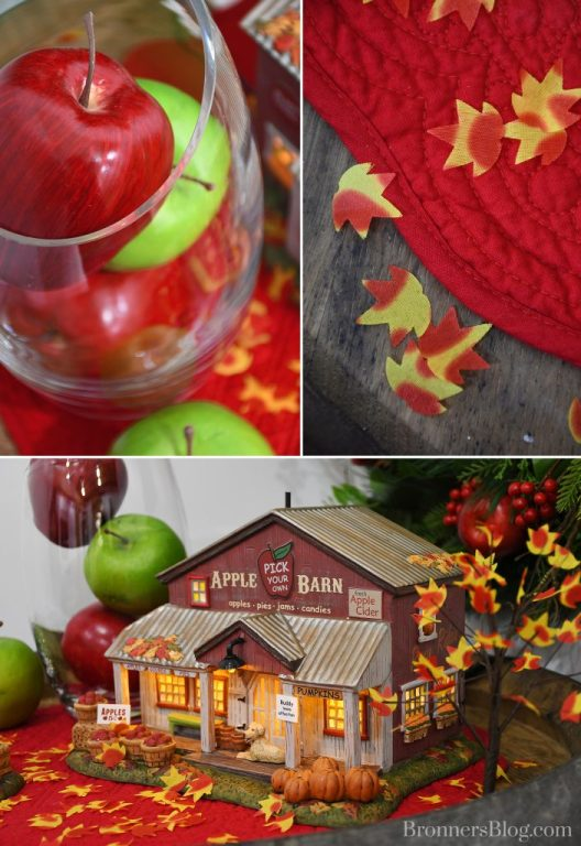 collage of apples in clear vase, red placemat and apple barn display