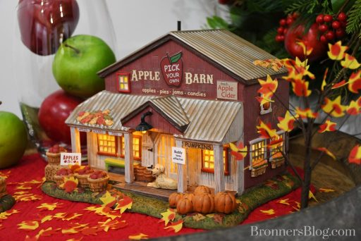 closeup of Apple Barn display for Department 56 for fall