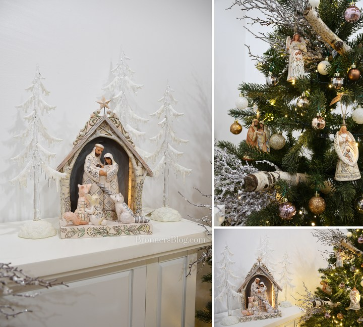 Jim Shore White Christmas themed nativity and Christmas tree.