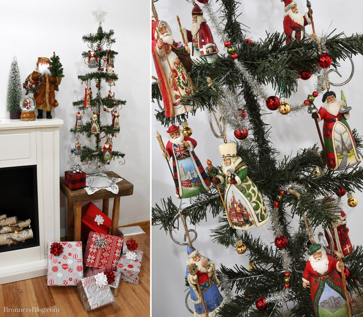 """Jim Shore's """"Around The World Santas"""" ornament collection displayed on an ornament stand-turned-feather tree!"""