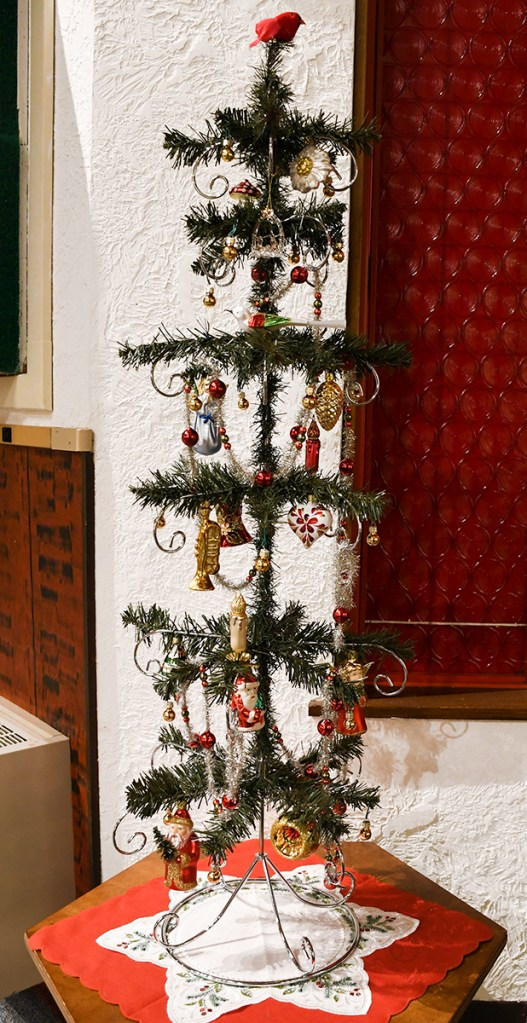 "DIY Feather Tree created from Bronner's  40"" ornament stand."
