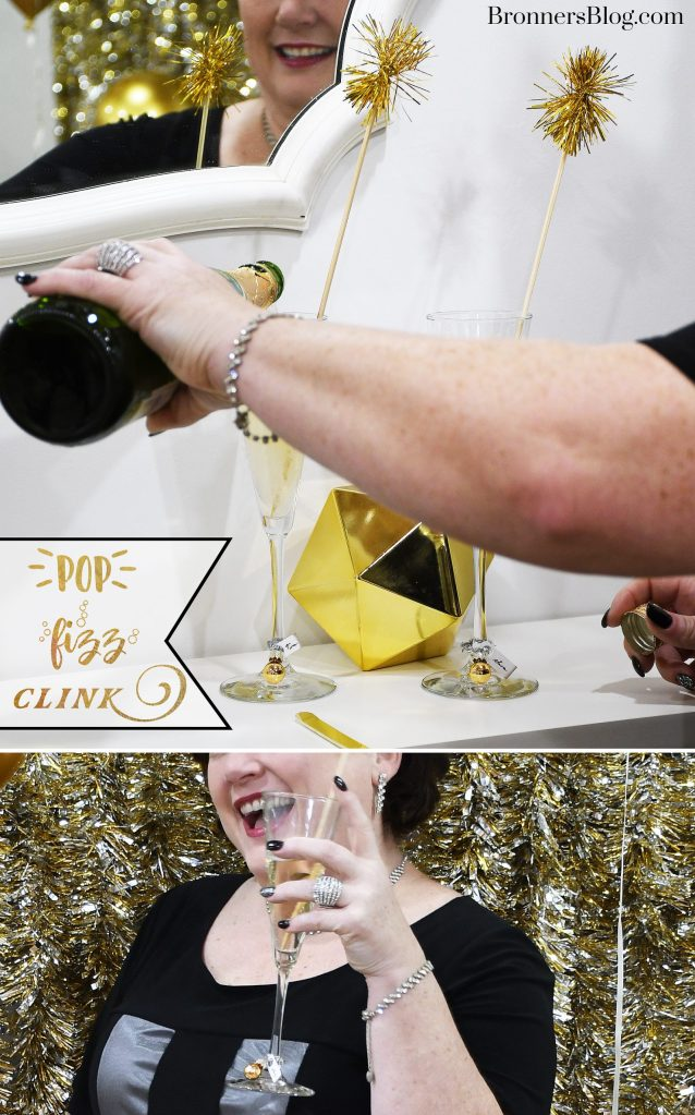Tinsel swizzle sticks and  miniature gold ornaments will help you say cheers to a New Year in style!