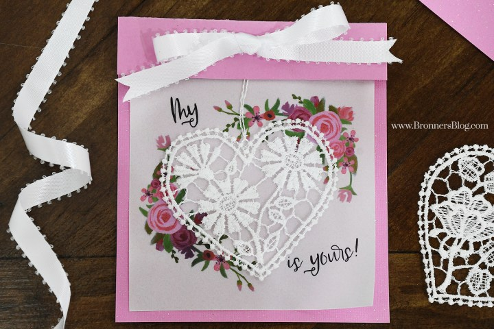 Simple DIY Valentine's Card with Lace Heart Ornament.