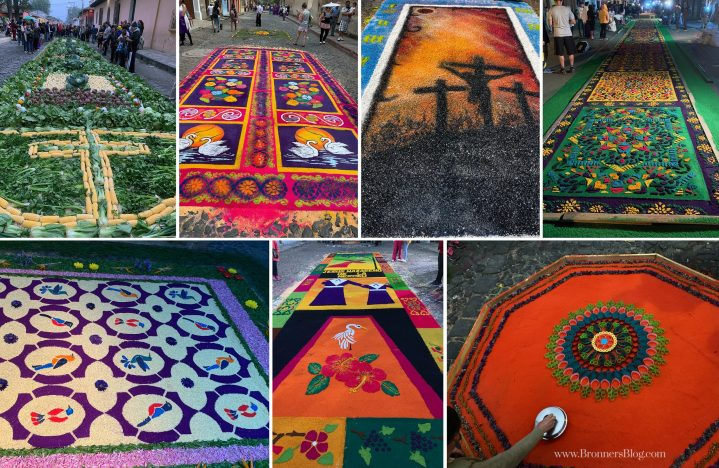 A collage of flower carpets adorning the streets of Antigua, Guatemala.
