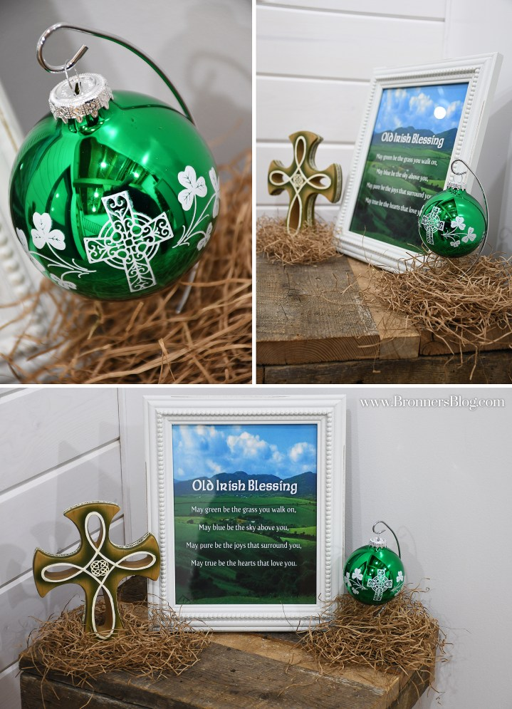 collage of shiny green Irish creed ornament and two angles of the framed Old Irish Blessing print, Celtic cross and Irish creed ornament
