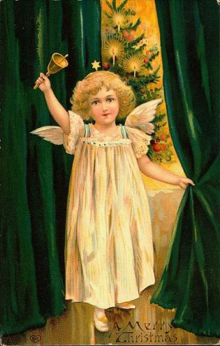 a vintage Christmas card image of the Christkind angel ringing a bell and pulling back a rich green curtain to reveal a decorated Christmas tree lit with candles for how Germany celebrates Christmas