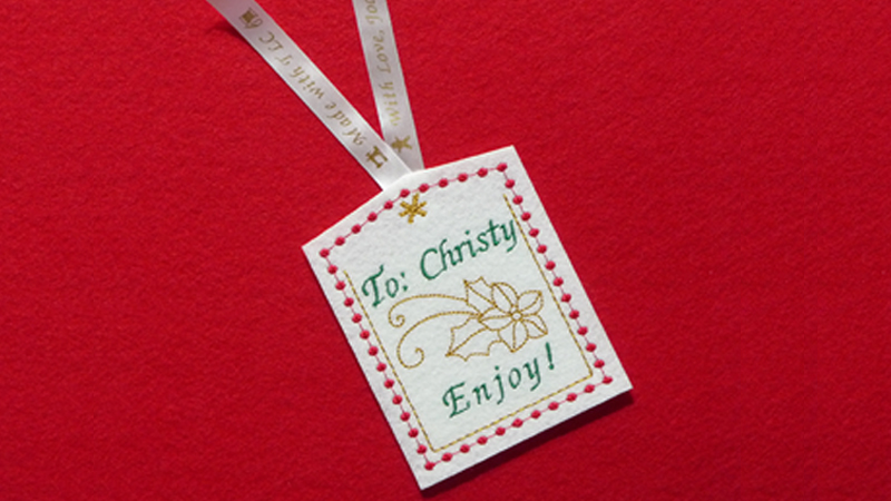 In-the-Hoop Embroidered Gift Tag