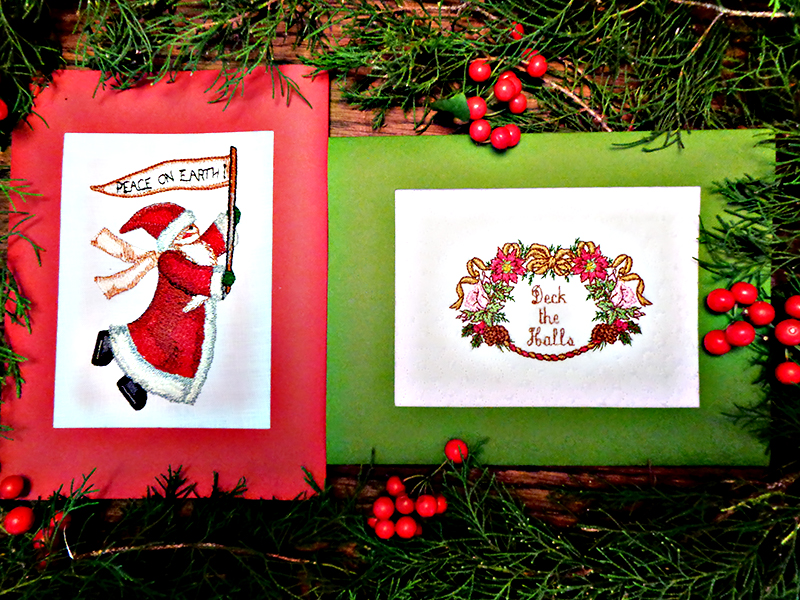 Santa and wreath cards