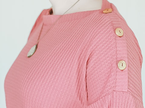 pink shirt with buttons