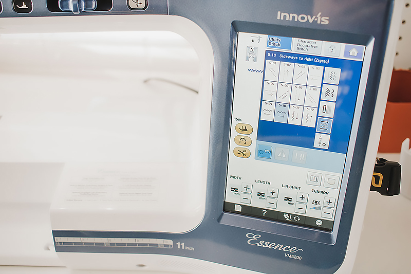 LCD screen on sewing machine