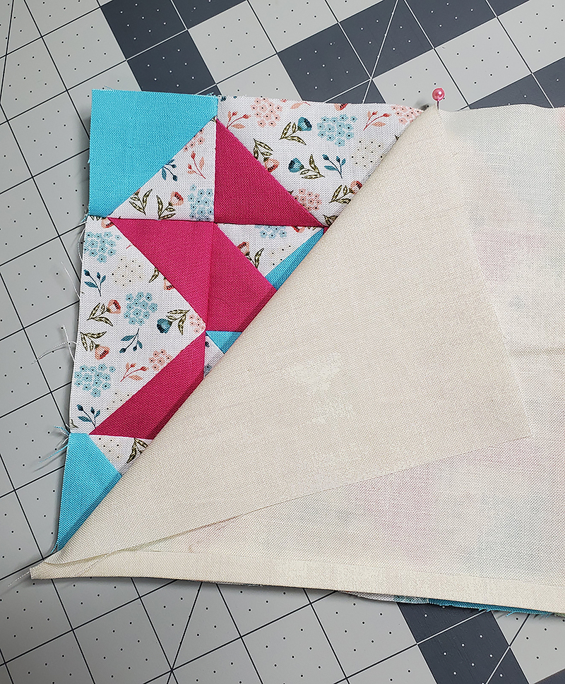 pin unfolded piece D to block