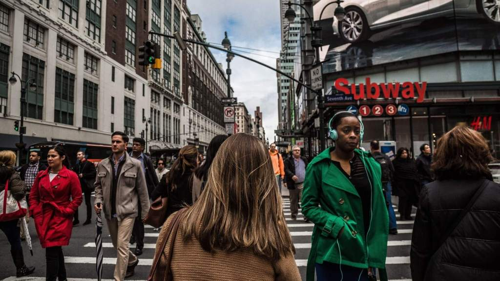 People walking on the streets of New York in rush hour