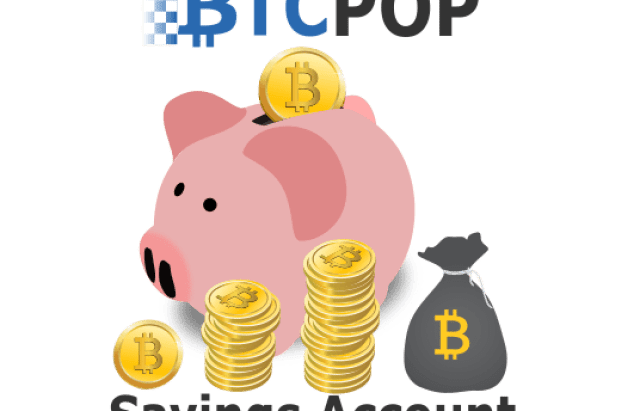 Btcpop Savings post featured image. a piggy bank with cryptocurrency coins and btcpop logo